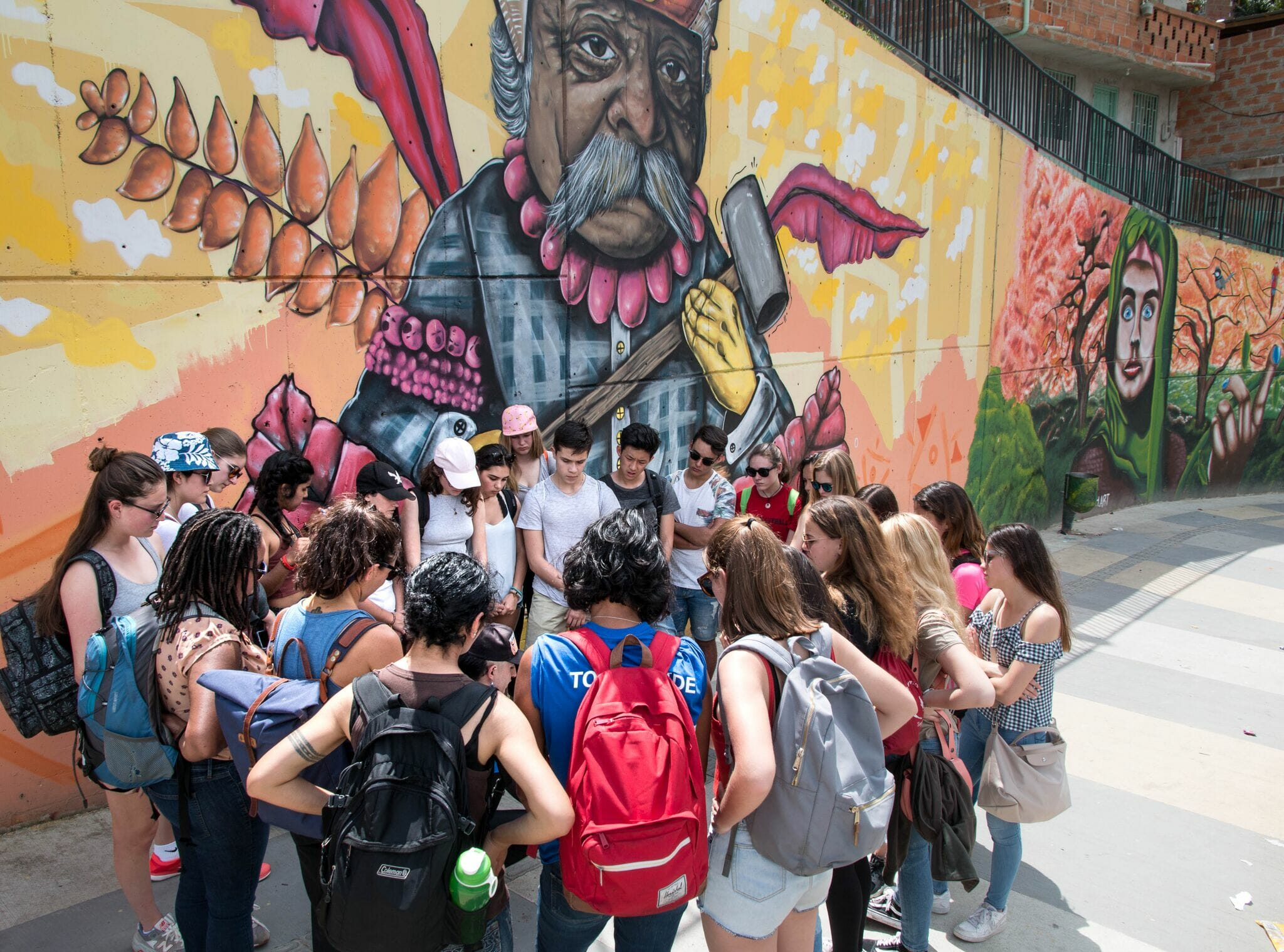 Students on graffiti tour in Medellin