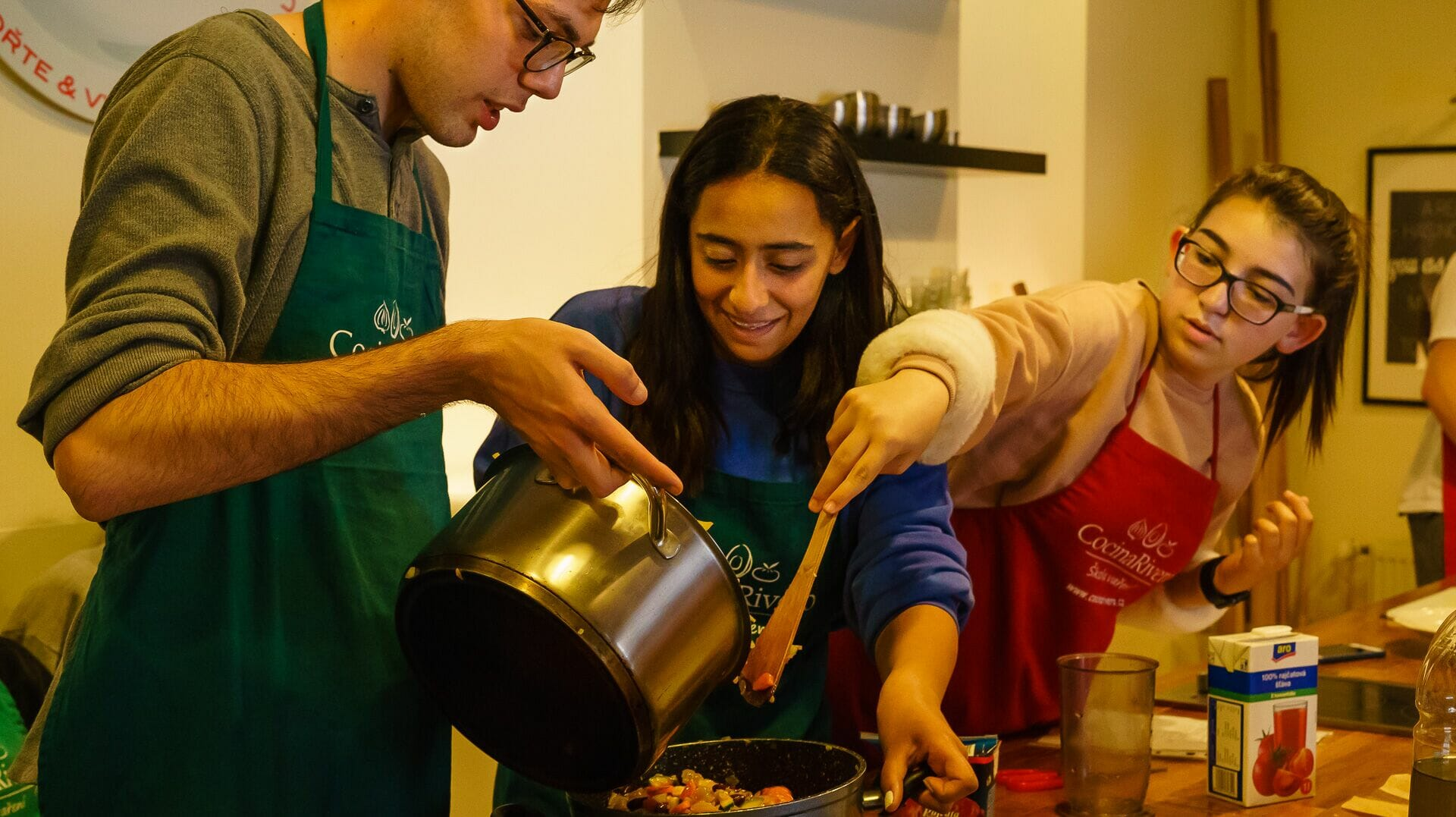 Students cooking for the homeless