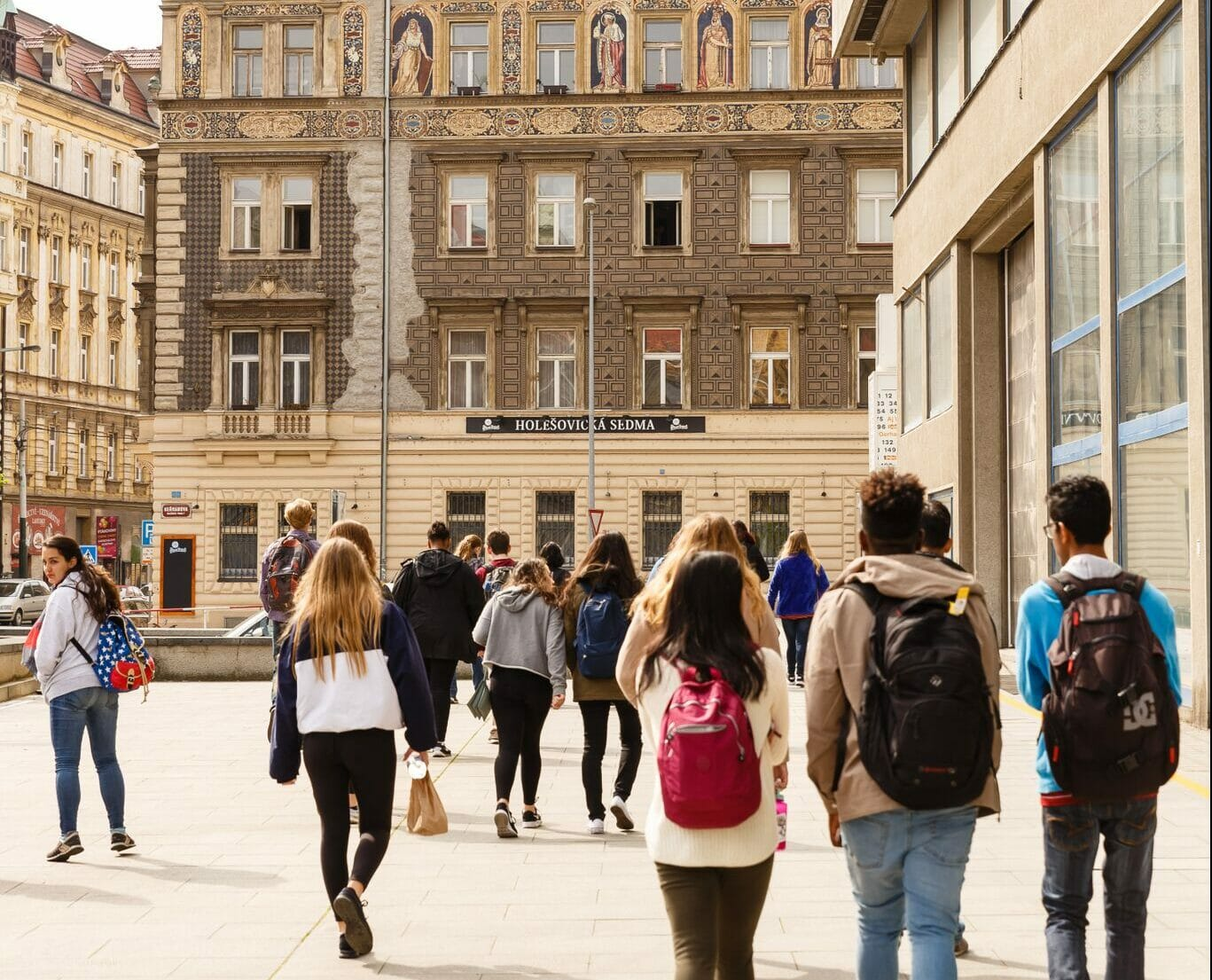 Students exploring streets of Prague