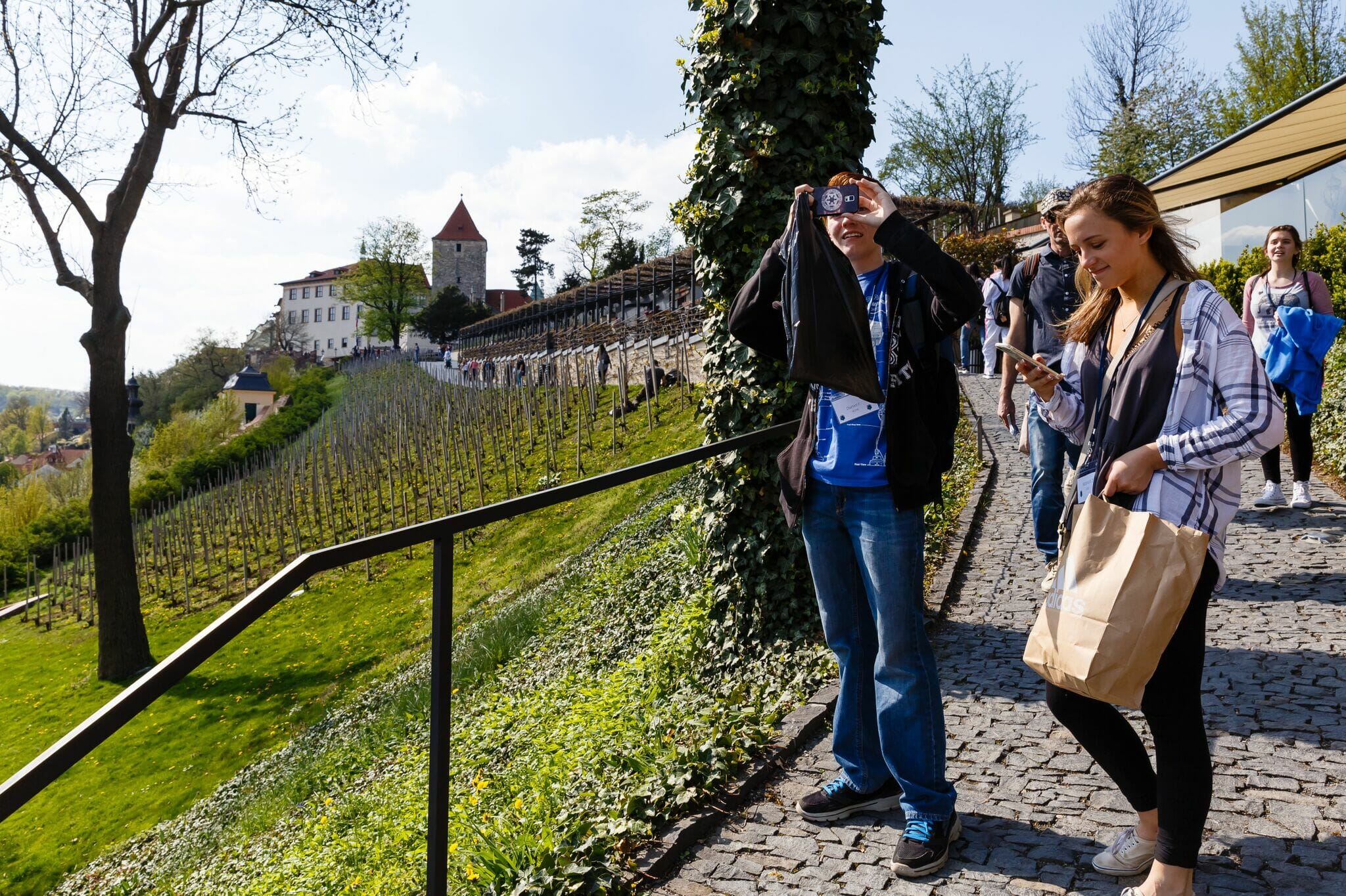 Students on educational tour in Prague